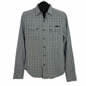 Lucky Brand Western Pearl Snap Shirt S Gray Plaid